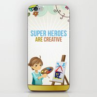 super heroes iPhone & iPod Skins featuring Super Heroes Are Creative by youngmindz