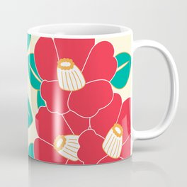 Japanese Style Camellia - Red and White Coffee Mug