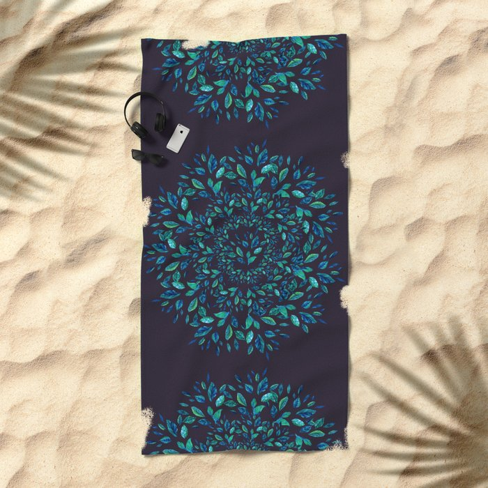 Blue Leaves Mandala Beach Towel