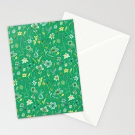 Verdant Flowers on Emerald Background Stationery Cards