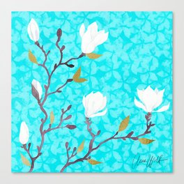 White magnolia with turquoise background Canvas Print