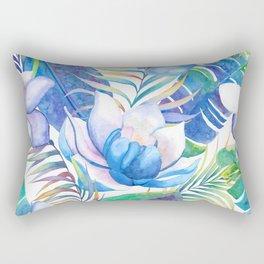 Blue lotus tropical leaves Rectangular Pillow