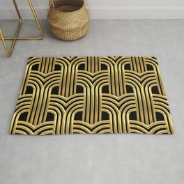 3-D Art Deco Sultry Cuban Nights Gold Pattern Rug