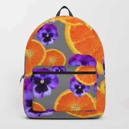 ORANGE SLICES & PURPLE PANSIES MODERN ART Backpack