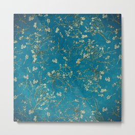Vintage & Shabby Chic - Vincent Van Gogh - Almond Blossoms Pattern Metal Print