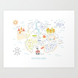 Neverland Map Color Art Print