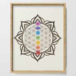 Flower of Life Chakra Healing Mandala Serving Tray