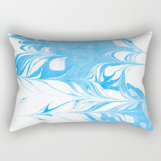 Suminagashi blue and white 1 marble spilled ink ocean swirl watercolor painting Rectangular Pillow