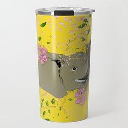 Lucky Elephant in Yellow Travel Mug