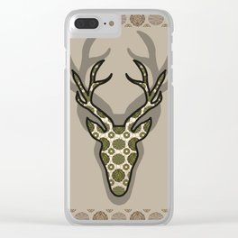 Deer with green pattern Clear iPhone Case
