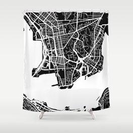 Street MAP Hong Kong // Black&White Shower Curtain