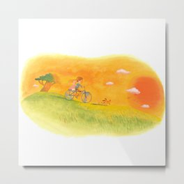 Children playing in the field at the sunset Metal Print