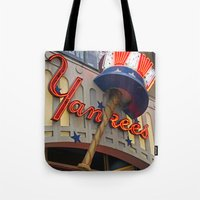 yankees Tote Bags featuring New York Yankees Clubhouse by Joann Vitali
