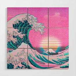 Vaporwave Aesthetic Great Wave Off Kanagawa Wood Wall Art
