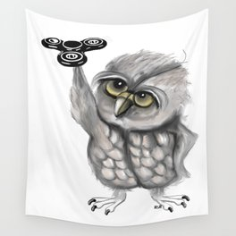 Fidget spinner owl Wall Tapestry