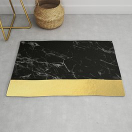 Black Marble & Gold Rug