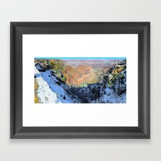 Snowy Grand Canyon South Rim Panorama Framed Art Print