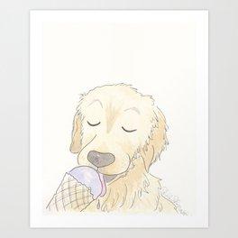 Labrador Dog and Lavender Ice-Cream Love Art Print