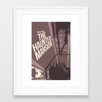 haunted mansion Framed Art Prints featuring Haunted Mansion Version 2 by Minimalist Magic - Art by Tony Sherg