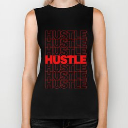 Hustle Thank You Plastic Bag Typography Biker Tank
