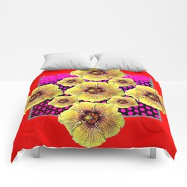 YELLOW FLOWERS DRAWING ON RED PATTERNED ART Comforters
