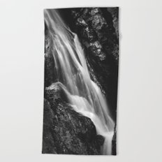 Black and white waterfall in Hell Gorge, Slovenia Beach Towel