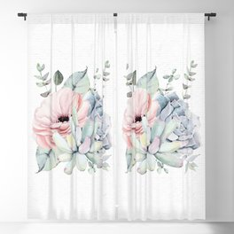 Pretty Succulents 2 Watercolor by Nature Magick Blackout Curtain