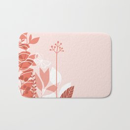 Pantone Living Coral Botanicals and Butterfly Graphic Design 2 Bath Mat