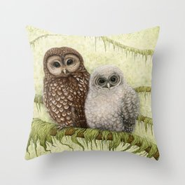 Northern Spotted Owls Throw Pillow