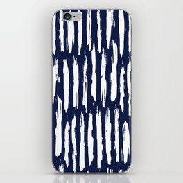Vertical Dash White on Navy Blue Paint Stripes iPhone Skin