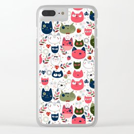Lovely Cats Pattern for Cats Lovers. Clear iPhone Case