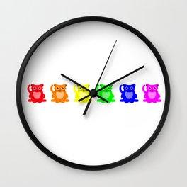 A Rainbow Line of Sad Cats Wall Clock