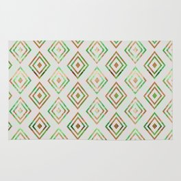 Abstract geometrical brown lime green ethno diamonds pattern Rug