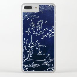 French July Star Maps in Deep Navy & Black, Astronomy, Constellation, Celestial Clear iPhone Case