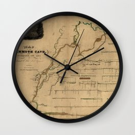 Map Of Mammoth Cave 1835 Wall Clock