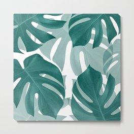 Monstera Leaves Vibes #1 #tropical #foliage #decor #art #society6 Metal Print