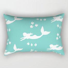 Mermaid Pattern Sea Green Rectangular Pillow