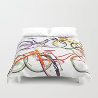 bikes Duvet Covers featuring bikes by takmaj