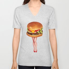 Cheeseburger Pin-Up Unisex V-Neck