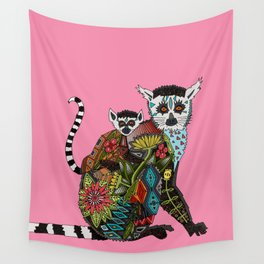 ring tailed lemur love pink Wall Tapestry