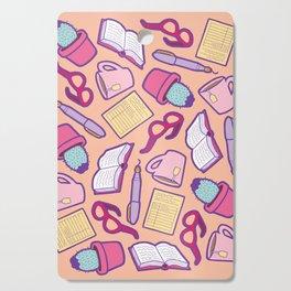 Book Club Pattern in Peach Cutting Board