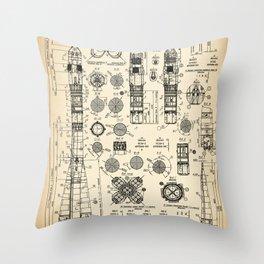 Soviet rocket vintage patent Throw Pillow