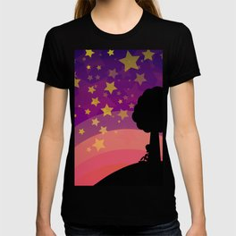Kid looking to the sky in the late evening T-shirt