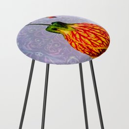 Stained glass and flower pendant Counter Stool
