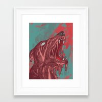 the hound Framed Art Prints featuring HOUND CRY by Lil Hooves / Illustrator Kat G