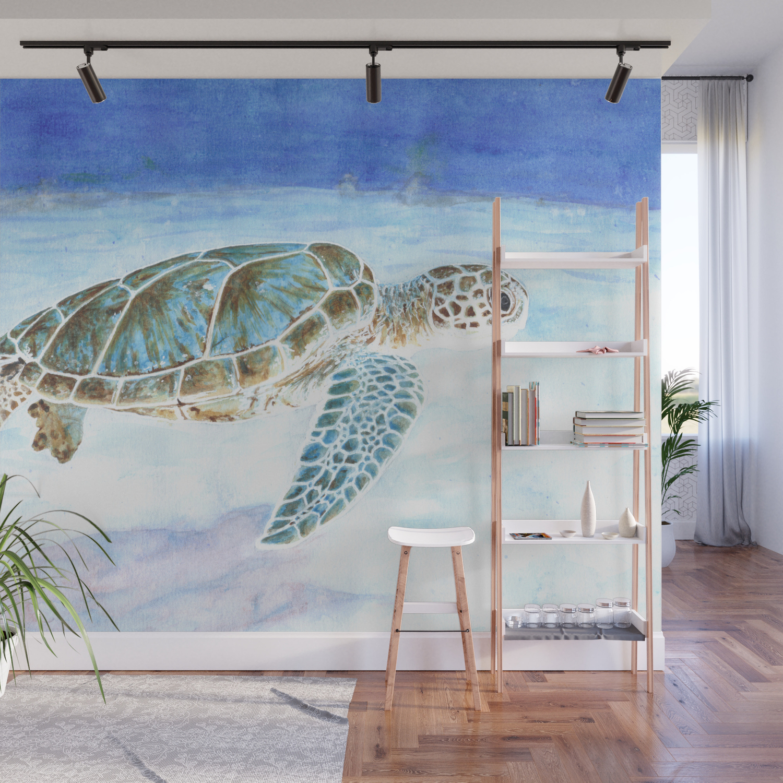 Sea Turtle Underwater Wall Mural By