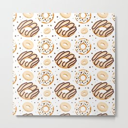White Chocolate Donut Pattern Metal Print