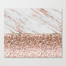Warm chromatic - rose gold marble Canvas Print