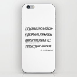 For what it's worth - F Scott Fitzgerald quote iPhone Skin