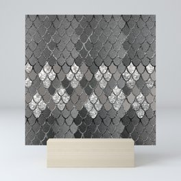 Mermaid Scales Silver Gray Glitter Glam #1 #shiny #decor #art #society6 Mini Art Print